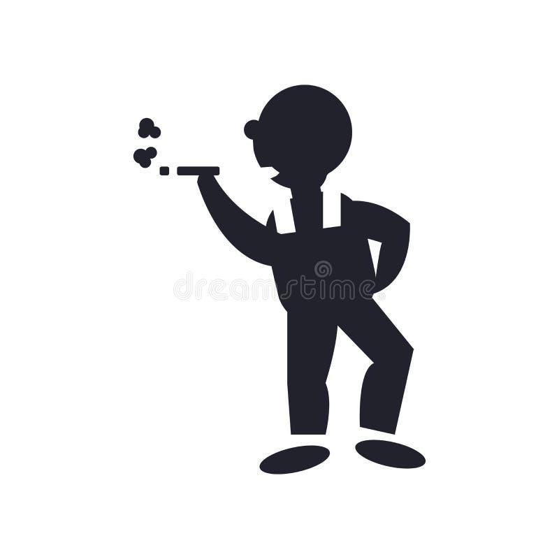 Dymiący mężczyzna ikony wektoru znaka i symbol odizolowywających na białym tle, Dymi mężczyzny logo pojęcie ilustracja wektor