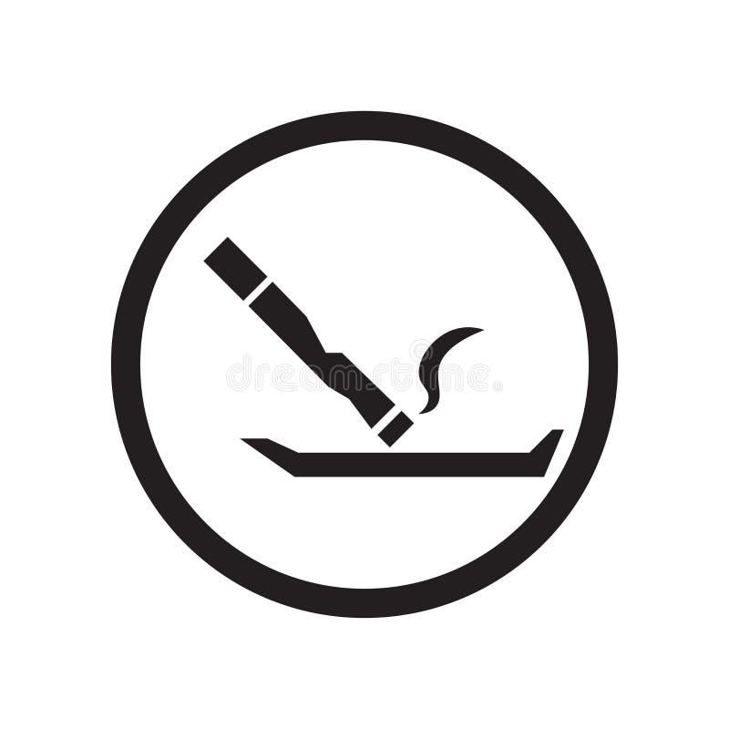 Dymiący miejsce ikony wektoru znaka i symbol odizolowywających na białym tle, Dymi miejsce logo pojęcie ilustracji