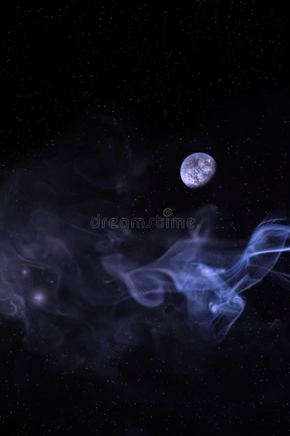 Dymiący tło z planetą i gwiazdami ilustracji