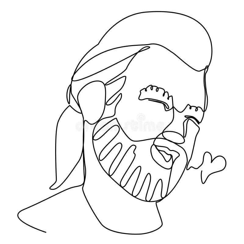 Dymić Brodaty Jeden mężczyzna portreta Kreskową sztukę Roześmiany Męski wyraz twarzy Ręka Rysująca Liniowa mężczyzna sylwetka ilustracji