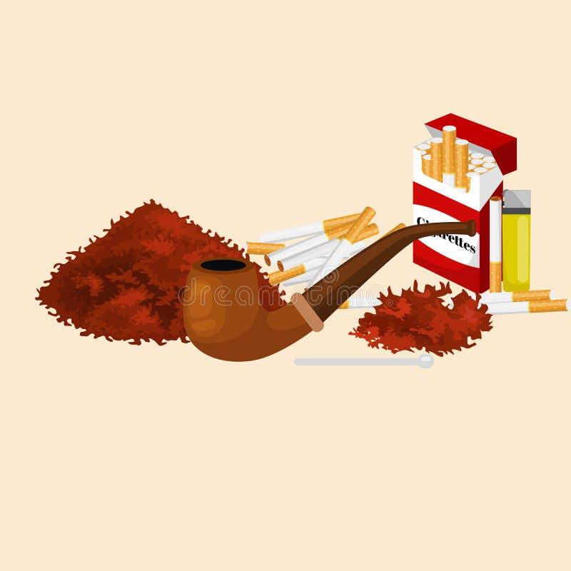 Dymić drewnianą drymbę z tytoniem dla staczającej się papierosu i paczki dymienia wyposażenia wektoru ilustraci royalty ilustracja