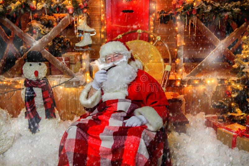 Dymić fajczanego Santa fotografia royalty free