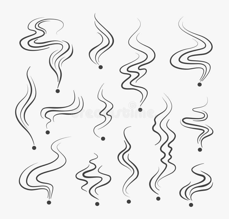 Dymić opar linii ikony Wektoru dymu odoru spirali perfumowania znaki royalty ilustracja