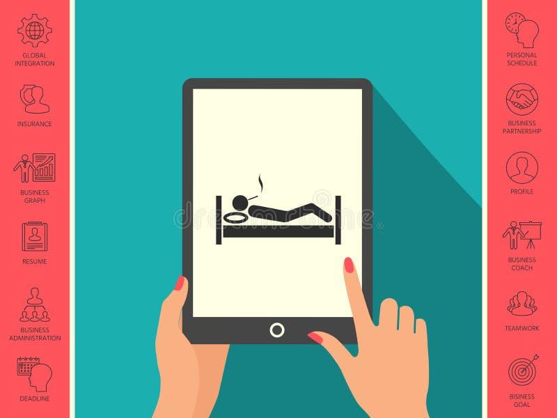 Dymić w łóżkowej ikonie ilustracji