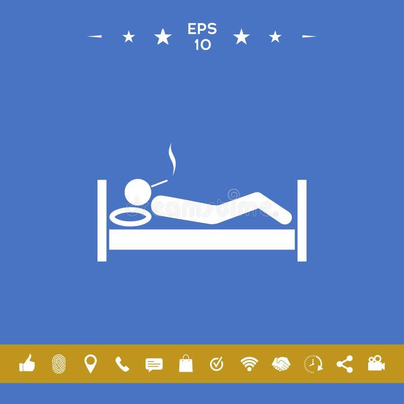 Dymić w łóżkowej ikonie ilustracja wektor
