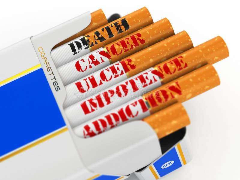 Dymi zwłoka Papieros paczka z tekst śmiercią i nowotworem ilustracji