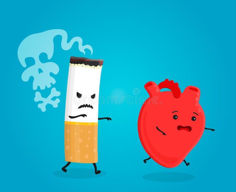 Dymi zwłoki serce złamana papierosowa pojęcia przestań palić Papierosowi zwłoka Wektorowa płaska kreskówki ilustracja ilustracji