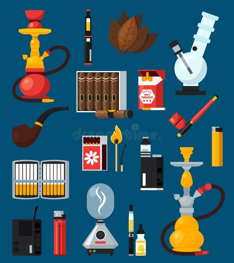 Dymienia mieszkania Barwione ikony Ustawiać royalty ilustracja