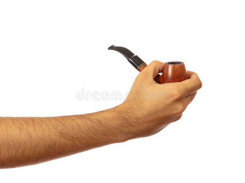 Dymienie drymba w męskiej ręce odizolowywającej na białym tle, ścinek ścieżka obrazy stock