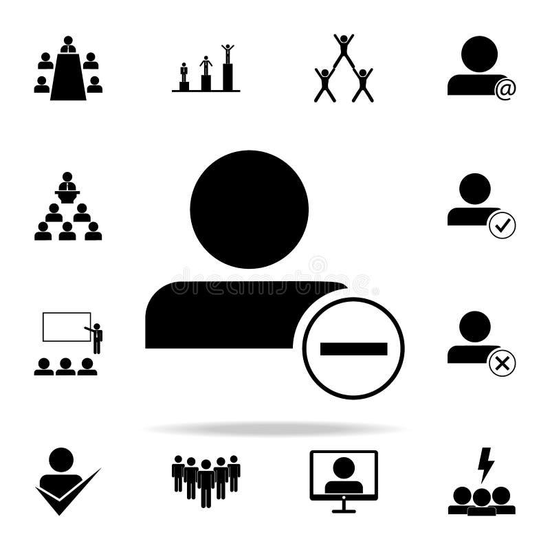 dymisja pracownik ikona Prac zespołowych ikon ogólnoludzki ustawiający dla sieci i wiszącej ozdoby royalty ilustracja