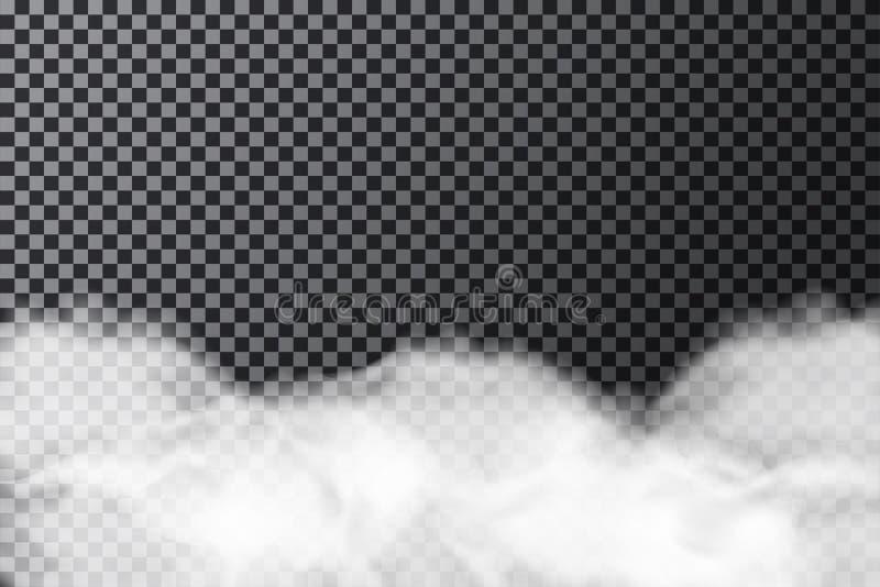 Dymna chmura na przejrzystym tle Realistyczna mgły lub mgły tekstura odizolowywająca na tle ilustracji