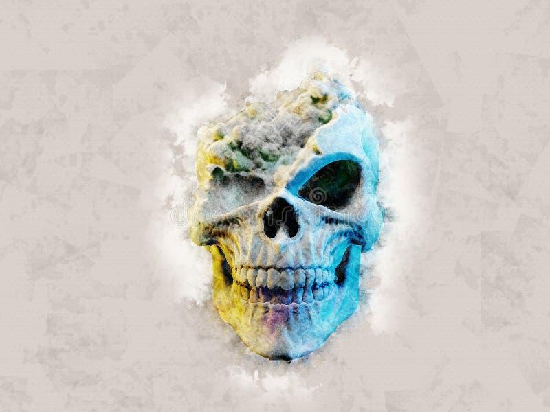 Dymna czaszka z brakującym cranium - obrazu olejnego skutek royalty ilustracja