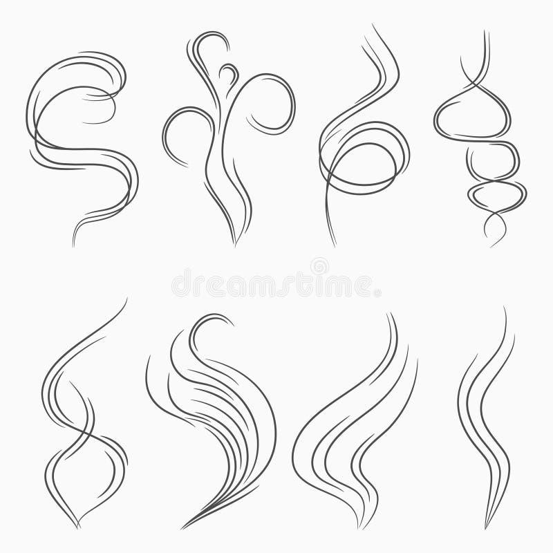 Dymne i parowe strumień linie Odoru i aromata abstrakta znak Papierosu dym lub opary przepływ wektor royalty ilustracja