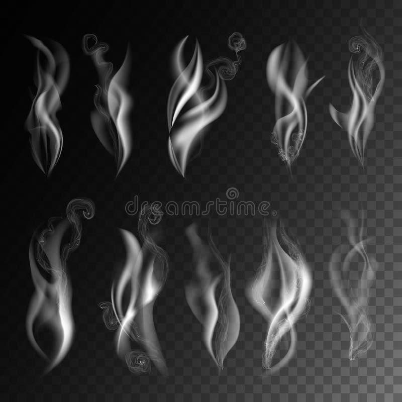 Dymne realistyczne 3D wektorowe ikony na przejrzystym tle royalty ilustracja