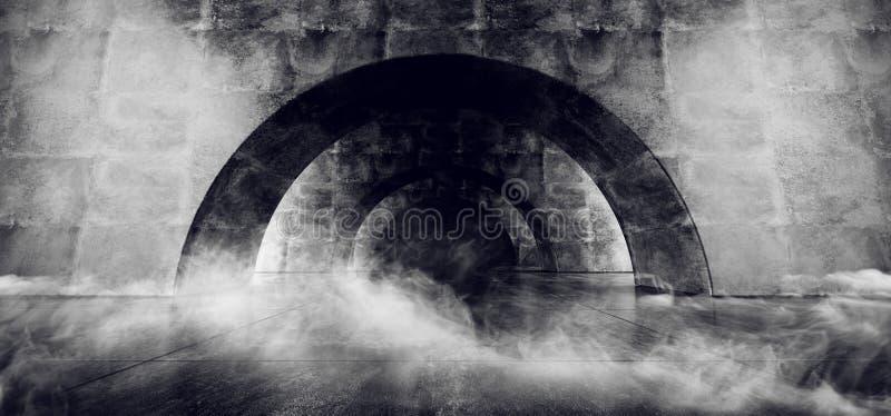 Dymnego Betonowego korytarza statku kosmicznego Sci Fi sceny Rozjarzonego Futurystycznego Bia?ego Laserowego Pustego Tunelowego O royalty ilustracja