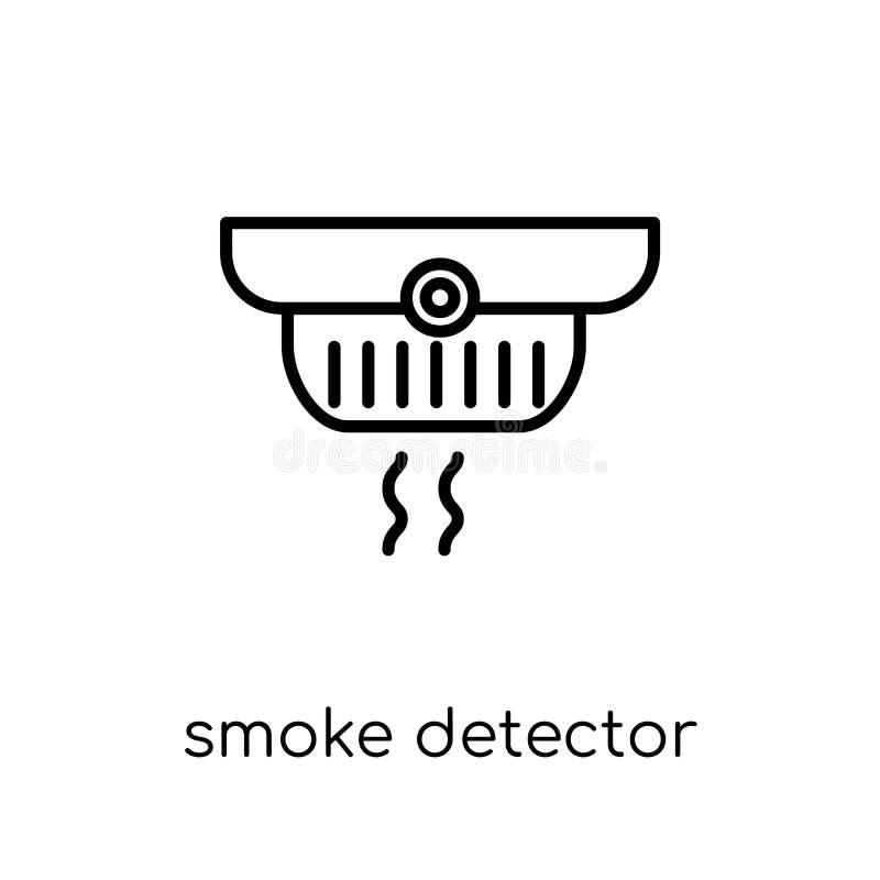 Dymnego detektoru ikona Modny nowożytny płaski liniowy wektoru dymu dete ilustracji