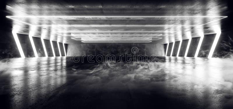 Dymnego mgieł Neonowych świateł Wirtualnego Laserowego przedstawienia korytarza wejścia klubu tła Biała Podziemna rzeczywistość J ilustracja wektor
