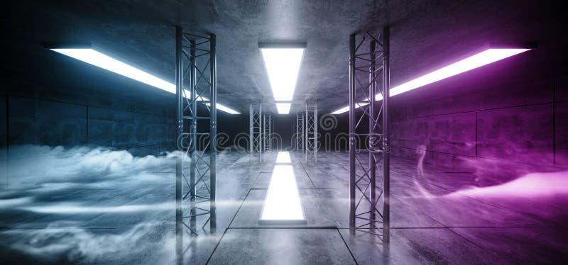 Dymnego Neonowego Purpurowego Błękitnego Sci Fi Cocnrete Futurystycznego Grunge panelu sceny metalu struktury Odbijający Alienshi ilustracji