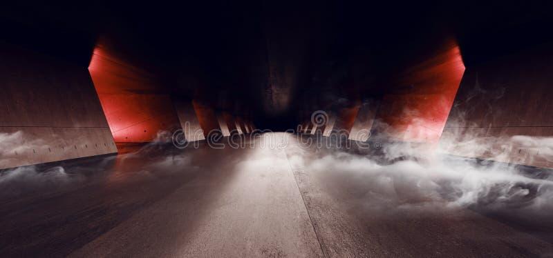 Dymnego Nowożytnego Eleganckiego Pomarańczowej łuny architektury Grunge betonu kolumn cementu Odbijającego Podziemnego korytarza  ilustracji