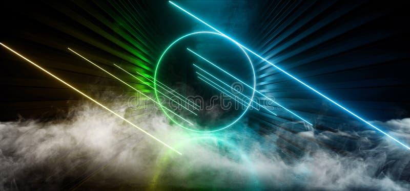 Dymnej Neonowej Ciemnej sceny budowy łuny zieleni Sci Fi korytarza korytarza Żółty Błękitny Retro Nowożytny Futurystyczny Przyszł ilustracja wektor