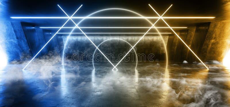 Dymny Fluorescencyjny Wibruj?cy okr?g Kszta?tuj?cy Sci Fi Neonowi Jarzy si? B??kitni ? ilustracji