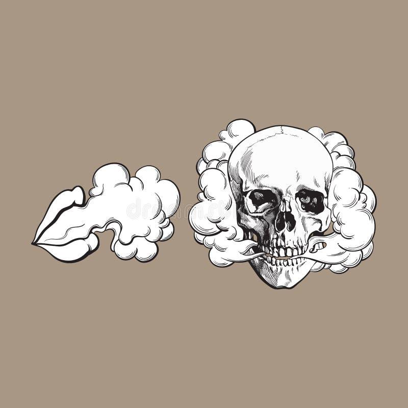 Dymny przybycie z czaszki i warg ilustracji