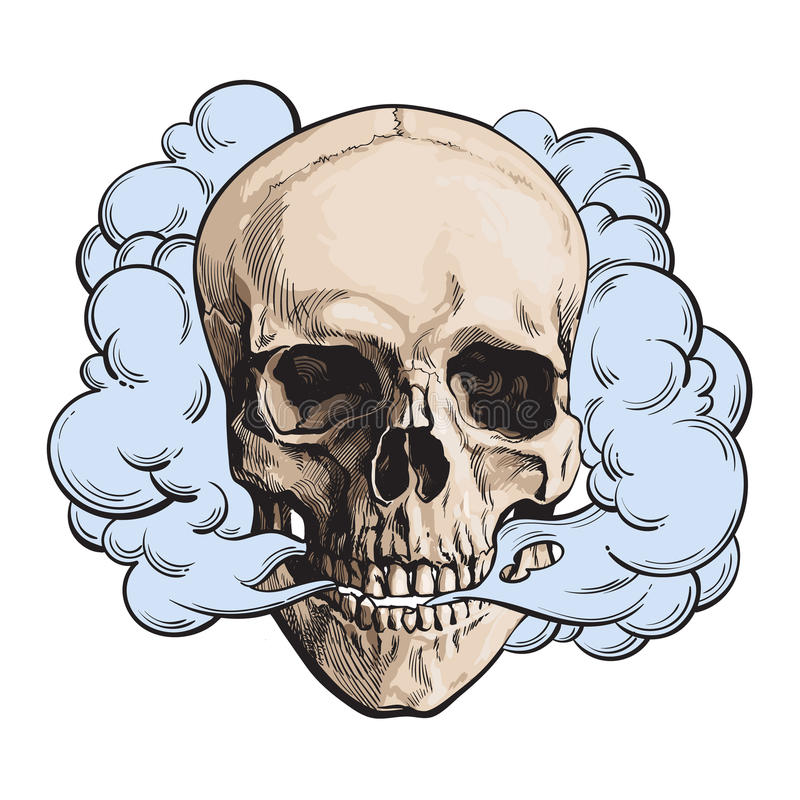 Dymny przybycie z fleshless czaszki, śmierć, śmiertelny przyzwyczajenia pojęcie royalty ilustracja