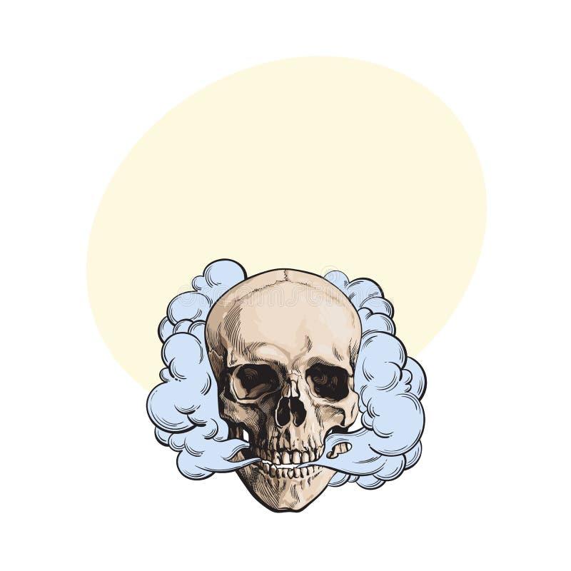 Dymny przybycie z fleshless czaszki, śmierć, śmiertelny przyzwyczajenia pojęcie ilustracja wektor