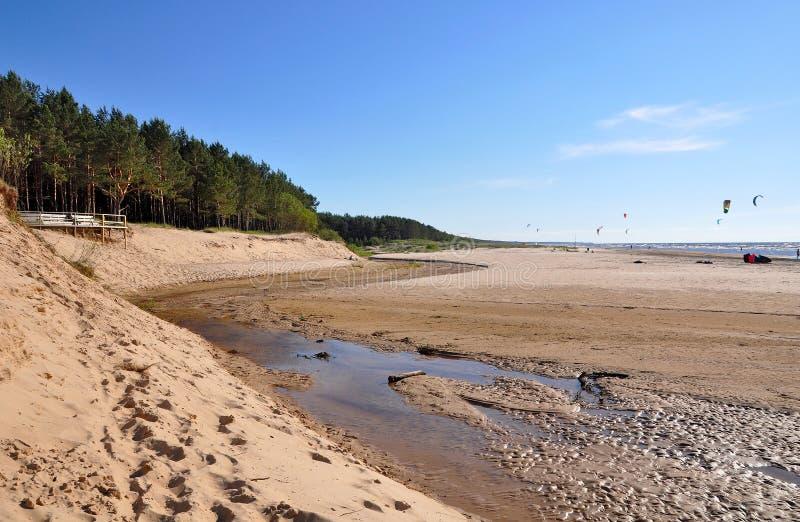 Dyn Östersjön, Saulkrasti, Lettland arkivbild