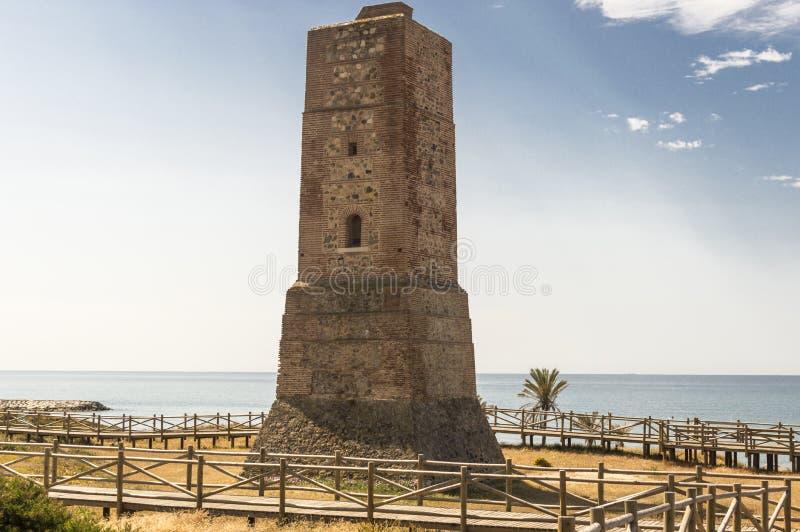 Dyn av den naturliga reserven för artola som lokaliseras i Cabopino Marbella Costa del Sol Malaga Spain royaltyfri fotografi