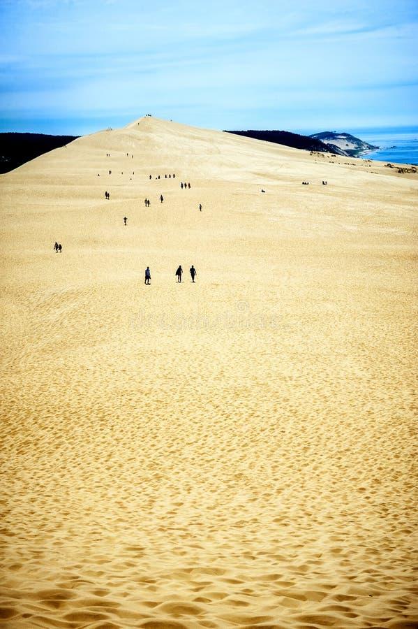 Dyn av Pilat Dyn du Pyla - den mest högväxta sanddyn i Europa, Arcachon fjärd, Aquitaine, Frankrike, Atlantic Ocean royaltyfria bilder