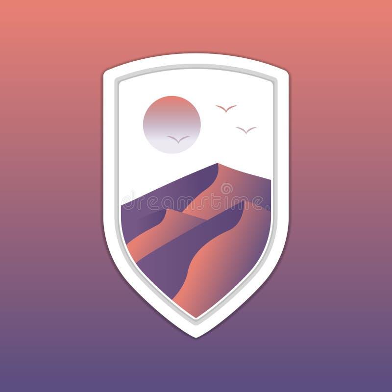 Dyn för ökenlandskapsand inom den vita mallen för logo för sköldemblememblem vektor illustrationer