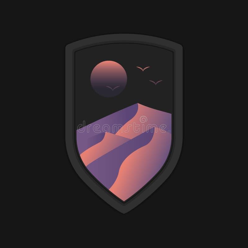 Dyn för ökenlandskapsand inom svart mall för logo för sköldemblememblem royaltyfri illustrationer