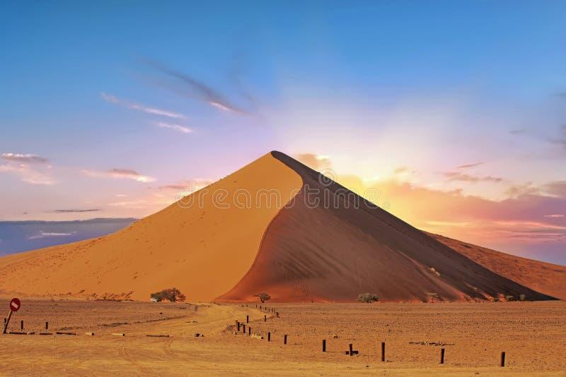 Dyn 45 i den Namib Naukluft nationalparken på soluppgång royaltyfri foto