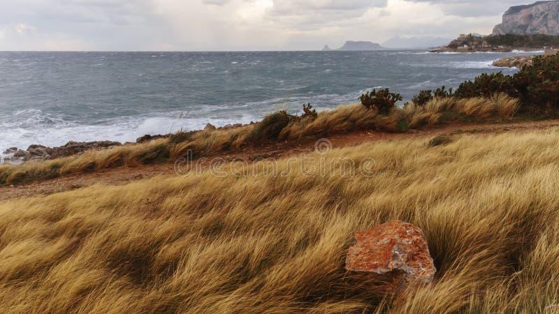 Dyn längs kust- Sicilien, Italien fotografering för bildbyråer