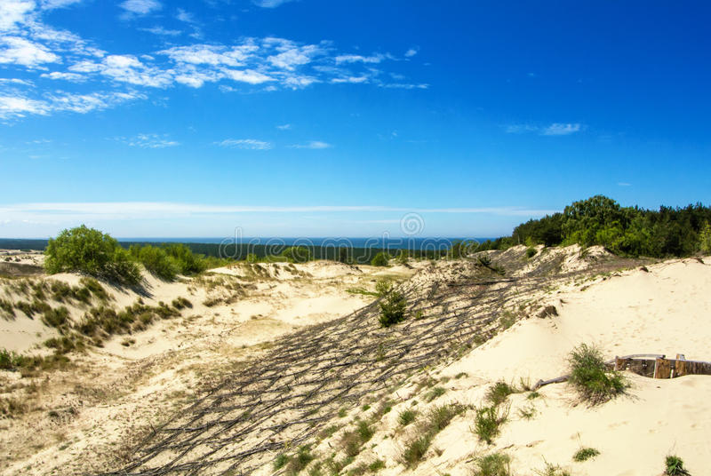 Dyn som skyddar träkonstruktion över sanden på naturligt, parkerar av Curonian spottar arkivfoto