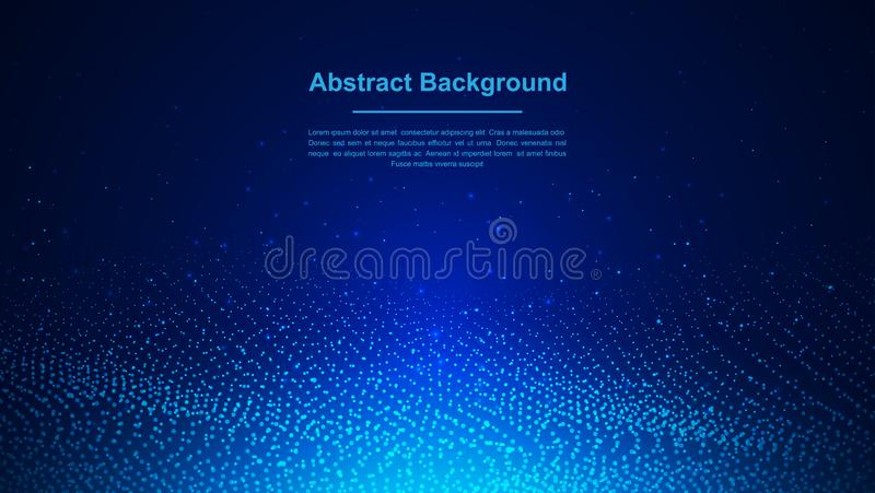 Dynamic abstract liquid flow particles background. Abstract blue particles background. Eps10 Vector background.  royalty free illustration