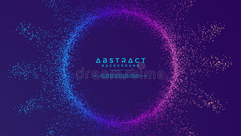 Dynamic abstract liquid flow particles background. Shining abstract particle flow background. Futuristic background with dots. Combination. Eps10 Vector royalty free illustration