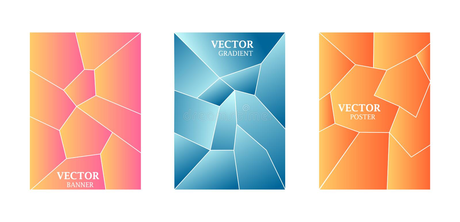 Dynamic background with gradient texture, geometric pattern with polygon. Blue, pink, peach colors. vector illustration