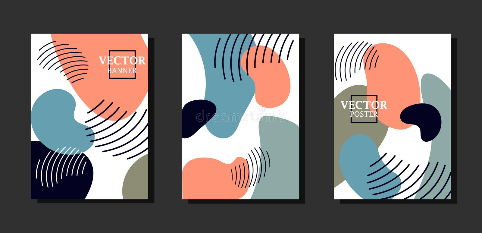 Dynamic background with graphyc elements, modern abstract shapes. Avant-garde style. stock illustration