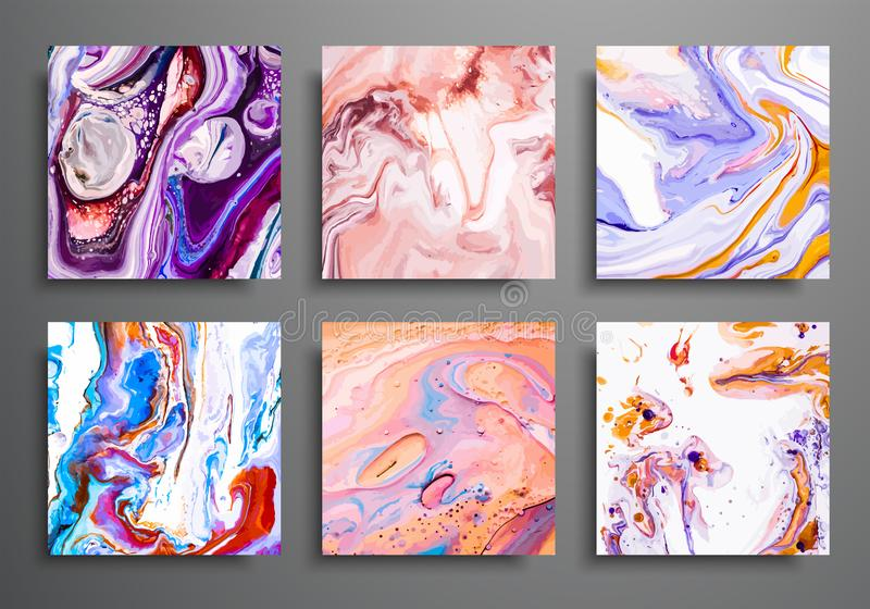 Dynamic backgrounds. trendy placards, commercial covers set. Marble colorful effect. Abstract page poster template for catalog, cr. Eative abstract brochure royalty free illustration