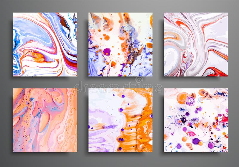 Dynamic backgrounds. trendy placards, commercial covers set. Marble colorful effect. Abstract page poster template for royalty free illustration