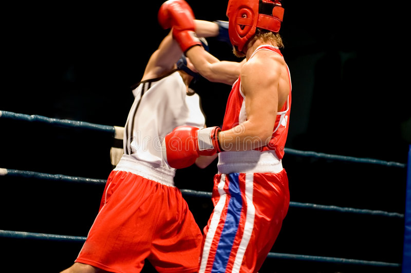 Dynamic boxing fight stock photography