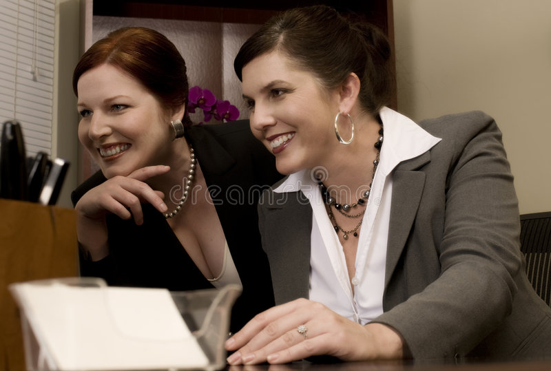 Dynamic Business Women. Two Dynamic Problem-Solving Corporate Co-Workers stock photo