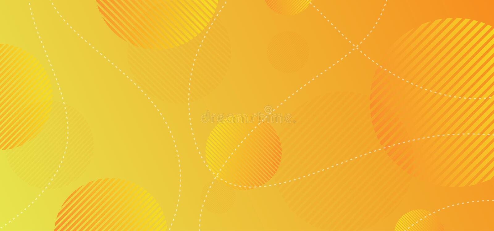 Dynamic circle geometric background with orange and yellow gradient. Modern, banner, pattern, brochure, flyer, frame, poster, business, abstract, cover, card vector illustration