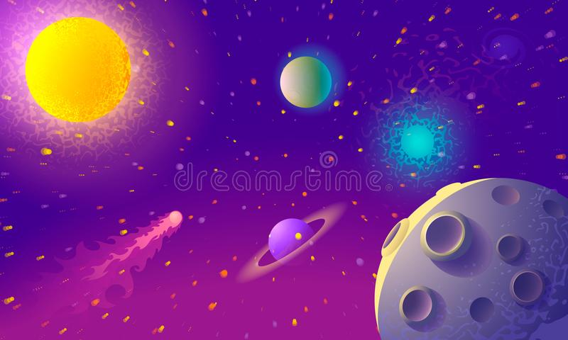 Dynamic Colorful Outer Space background with planet in the foreground. Illustration . Dynamic Colorful Outer Space background with planet in the foreground stock illustration