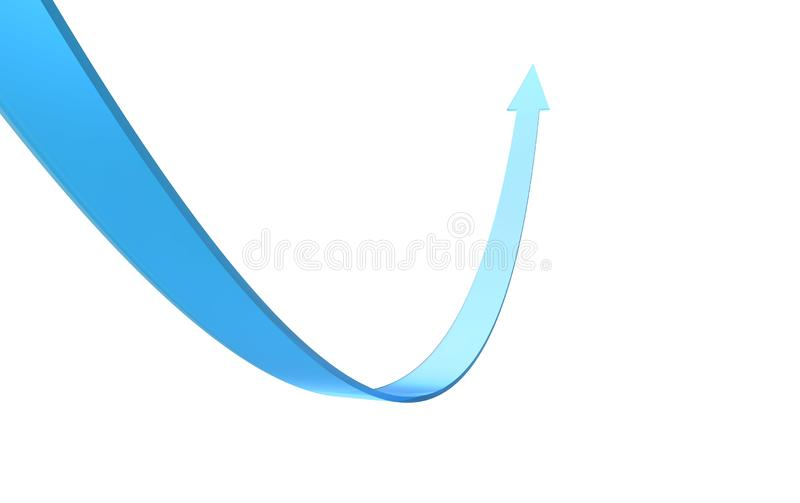 3d render blue band wave arrow isolated on white background stock illustration