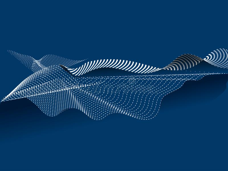 Dynamic digital flowing wave motion particles composition. Dynamic digital flowing wave motion particles composition on blue background vector illustration