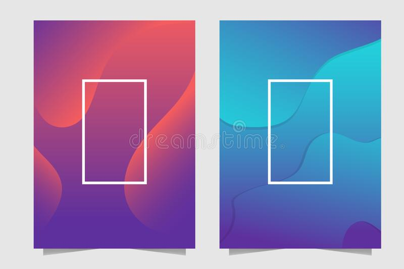 Orange, Cyan, purple and blue dynamic Fluid movement abstract background stock illustration