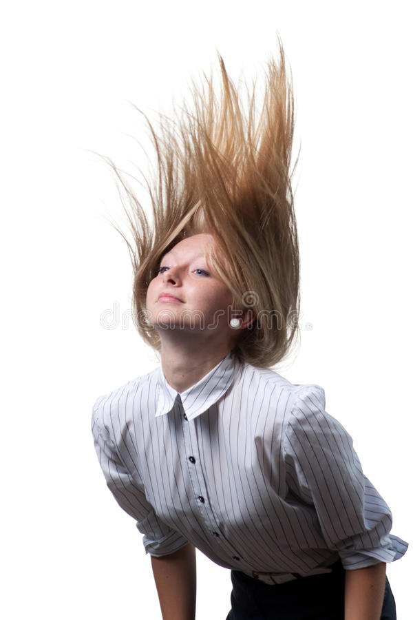 Dynamic flying hair on white background royalty free stock image